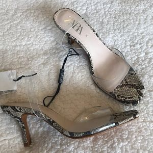 Zara snakeskin and clear heel